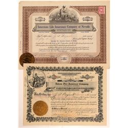 Two Insurance Company Stock Certificates  #107330