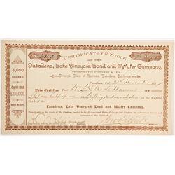 Pasadena Lake Vineyard Land and Water Company Stock  #90463