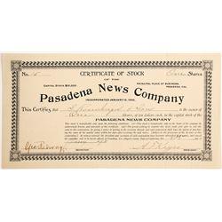 Pasadena News Company Stock  #90464