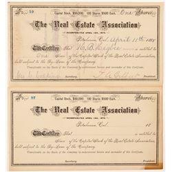 Real Estate Association Stock Certificates  #104410