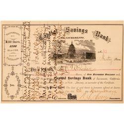 Capital Savings Bank of Sacramento Stock Certificate  #100758