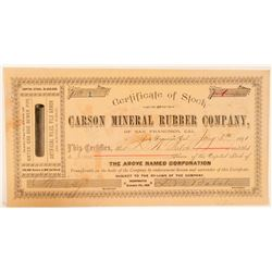 Carson Mineral Rubber Co. Stock Certificate Signed by Comstock Assayer Balch  #100740