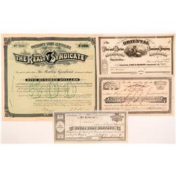 Four Different San Francisco Stock Certificates  #104362