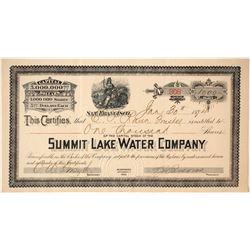 Summit Lake Water Company Stock  #80573