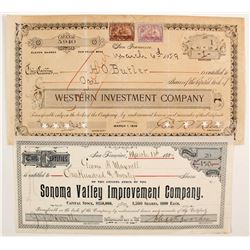 Two Early Numbered San Francisco Improvement and Investment Stocks  #88169