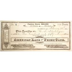 American Land and Trust Club Stock  #83307