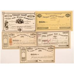 Five California Non-Mining Stock Certificates  #107104