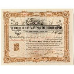Continental Wireless Telephone & Telegraph Company Stock Certificate  #34865