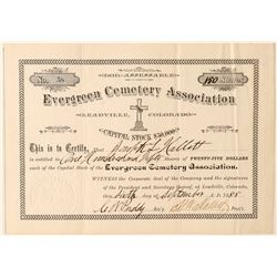 Evergreen Cemetery Association Stock Certificate (Leadville)  #91789