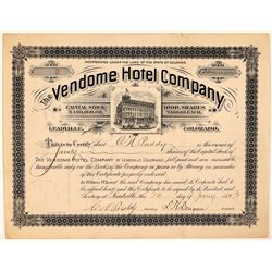 Vendome Hotel Company Stock Certificate, No. 2  #107678