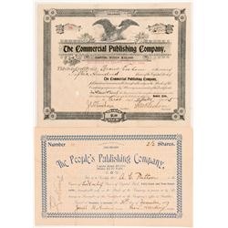 Two Colorado Publishing Stock Certificates  #104352