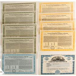 Florida Telephone Stock Certificates & Bonds  #60046