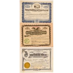 Three Different Hawaii Banking Stock Certificates  #101517