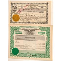 Two Hawaii Hotel Stock Certificates   #101550