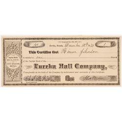 Eureka Hall Company Stock Certificate  #107014
