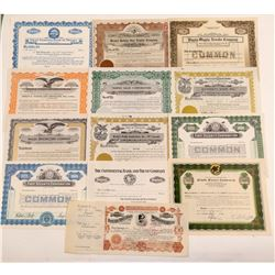 13 Different Miscellaneous Stock Certificates  #107335