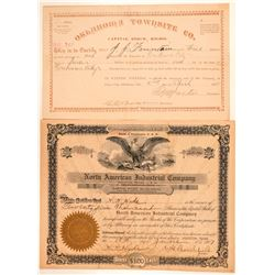 Two Oklahoma Stock Certificates  #100995