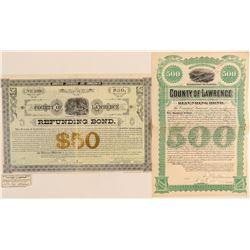 Two Lawrence County, Dakota Territory Bonds  #100813