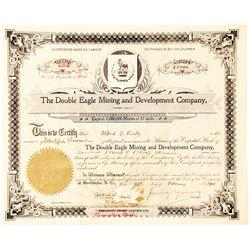 Double Eagle Mining & Development Co. Stock Certificate, Kaslo, B.C.  #63008