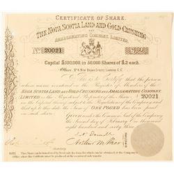 Nova Scotia Land & Gold Crushing & Amalgamating Co. Stock, 1863  #63015