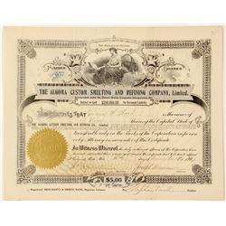 Algoma Custom Smelting & Refining Co., Ltd. Stock Certificate, Thessalon, Ontario  #63010