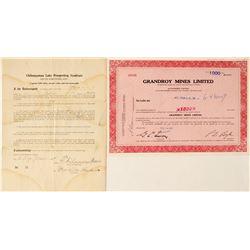 Chibougamau Area Mining Stock Certificates, Quebec  #63054