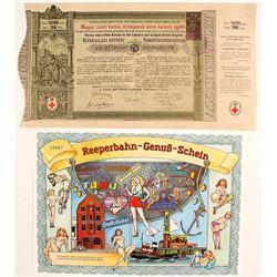 2 German Stock Certs (Joke Certs.)  #86834