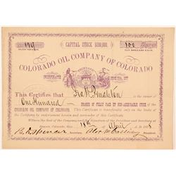 Colorado Oil Company Stock Certificate  #104473