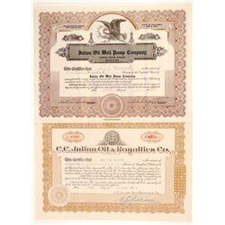 Two C. C. Julian Signed Oil Stocks  #103577