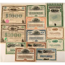 12 Different Chicago Railroad Stock Certificates & Bonds  #107620