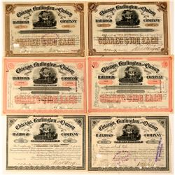 Chicago, Burlington & Quincy Railroad Co. Stock Certificates (6)  #107621