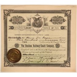 The Dustless Railway Coach Co. Stock Certificate, Illinois, 1898  #110317