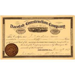 Dacotah Construction Company Stock Certificate, Des Moines, Iowa, 1887  #110306