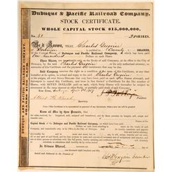 Dubuque & Pacific Railroad Company Stock Certificate, 1857  #110308