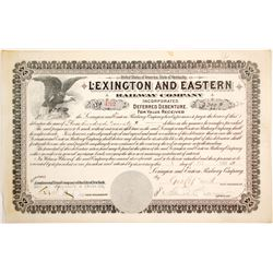 Lexington and Eatern Railway Debenture  #84956