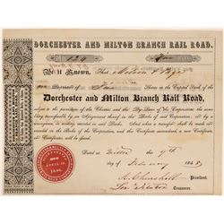 Dorchester and Milton Branch Rail Road Stock Certificate, 1848  #110302