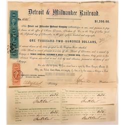 Detroit & Milwaukee Railroad, $1,200 Bond Certificate, 1863  #110304