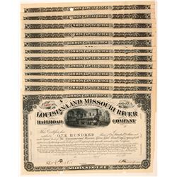 Louisiana and Missouri River Railroad Co. Stock Certificates  #107381