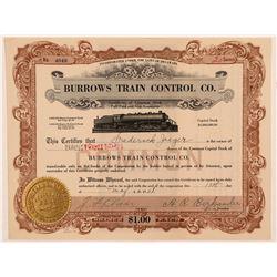 Burrows Train Control Co. Stock Certificate  #107376