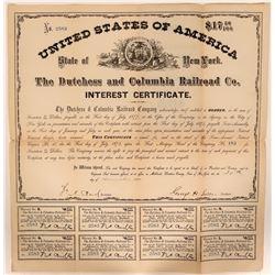 The Dutchess and Columbia Railroad Co. Bond Certificate, 1871  #110305