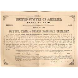 Dayton, Xenia and Belpre Rail Road Company Bond, 1864  #110309