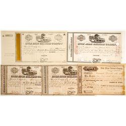 Little Miami Railroad Stocks and Dividend Cert, 5 Different  #84949