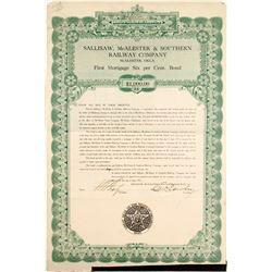 Sallisaw, Mc Alester & Southern Railway Bond  #84178