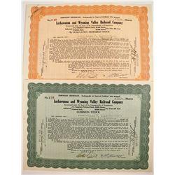 Lackawanna and Wyoming Valley Railroad Stocks (2)  #84971