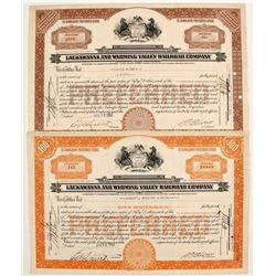 Lackawanna and Wyoming Valley Railroad Stocks (2)  #84972
