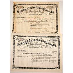 Lehigh Avenue Railway Stocks (2)  #84967