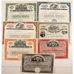 Lehigh Valley Railroad Stocks, 7 Different  #84965
