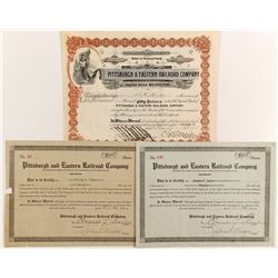 Pittsburgh and Eastern Railroad Co Stocks , 3 Different  #84278