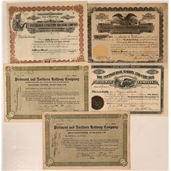 Variety of Rail Road Stocks Eastern US  #108652