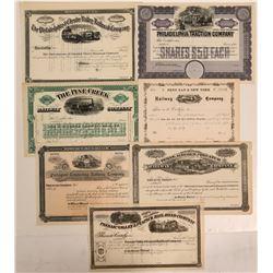 Various Pennsylvania Railroadstocks all unissued  #108642